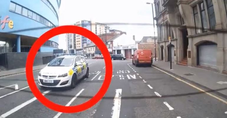 Red Circle Around An Obvious Police Car